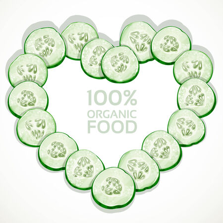Frame in heart shape from slices of fresh cucumber Vector