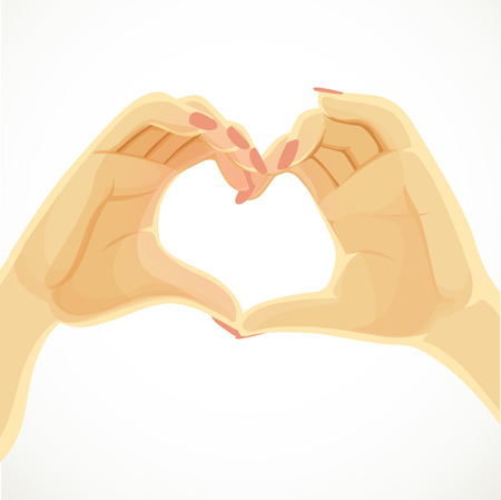 folded hands: Heart folded from beautiful female hands isolated on white background