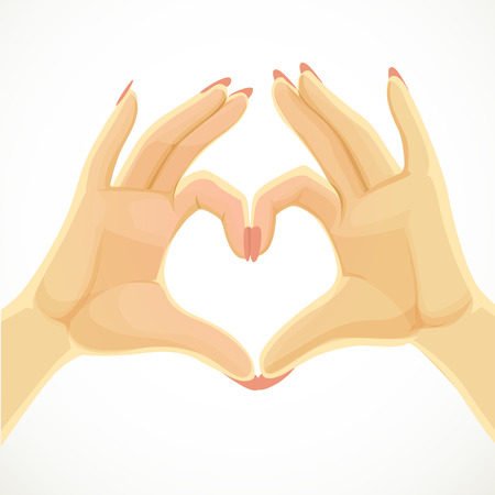 folded hands: Heart folded of beautiful female hands isolated on white background