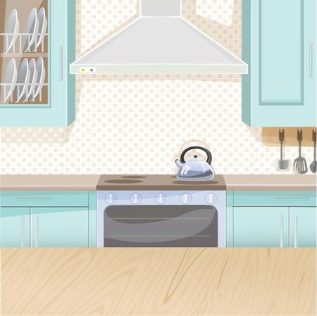 aceite de cocina: Interior de la cocina en color azul con estufa y armarios