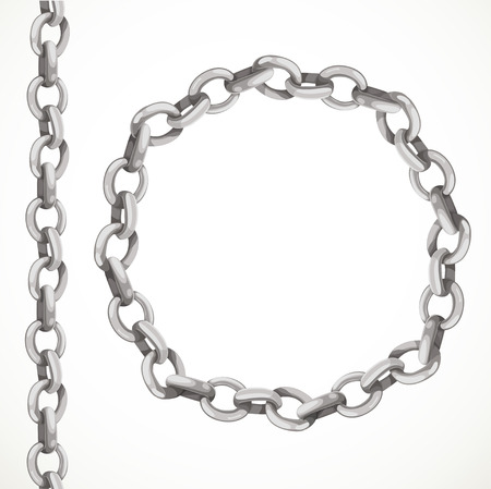 chain linked: Metal chain seamless line and closed in a circle
