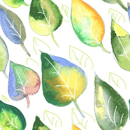 Naadloze ornament van aquarel bladeren