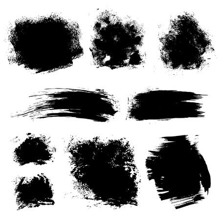 paint drips: Set of different strokes thick paint textured brush on white background 1  Vector draw Illustration