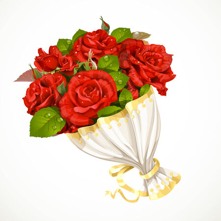 bride bouquet: Bouquet of red roses Valentines day gift isolated on white background