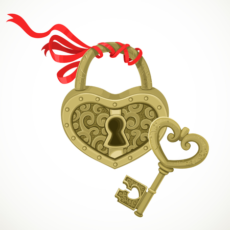 Cerradura en forma de corazón y la clave para él aislados sobre fondo blanco Foto de archivo - 25126940