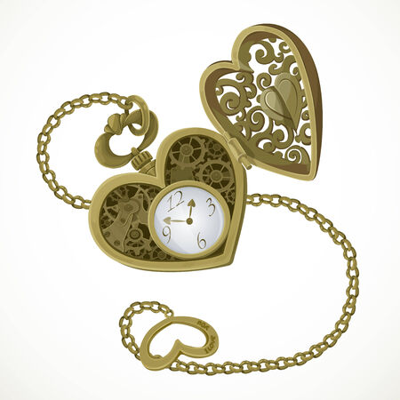 pocket watch: Pocket watch in the form of heart with an engraving I love you