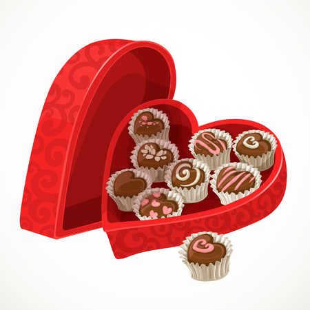 chocolate: Red box of chocolates in the form of heart on Valentine Illustration