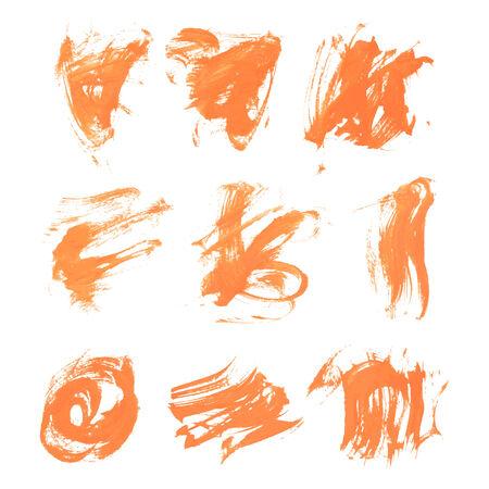 smears: Set texture orange paint smears on white background 8