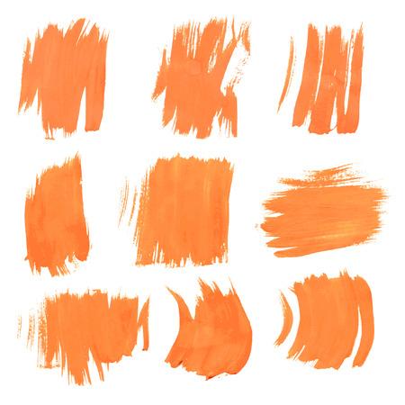 smears: Set texture orange paint smears on white background 9