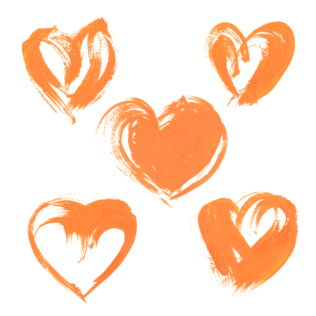 textural: Textural heart drawn thick orange paint 1