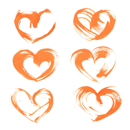 Textural heart drawn thick orange paint Vector