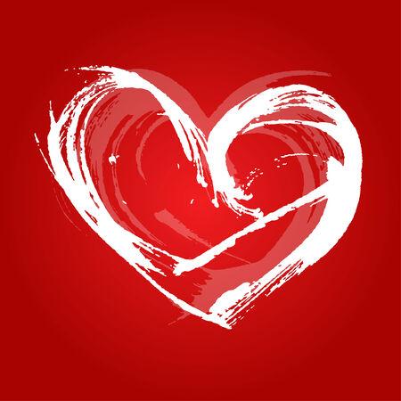 peinture blanche: coeur de carte de Saint-Valentin peint avec de la peinture blanche un large pinceau 1