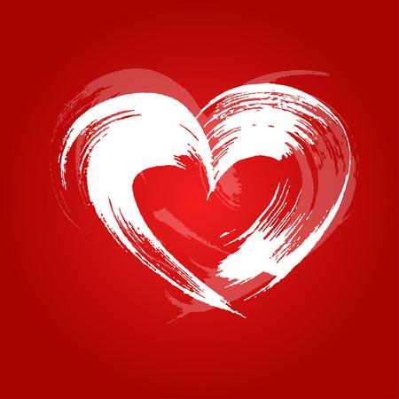 peinture blanche: coeur de carte de Saint-Valentin peint avec de la peinture blanche un large pinceau 2