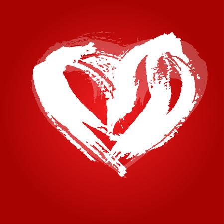 peinture blanche: coeur de carte de Saint-Valentin peint avec de la peinture blanche un large pinceau 3 Illustration