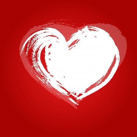 peinture blanche: Valentine carte coeur peint avec de la peinture blanche un large pinceau Illustration