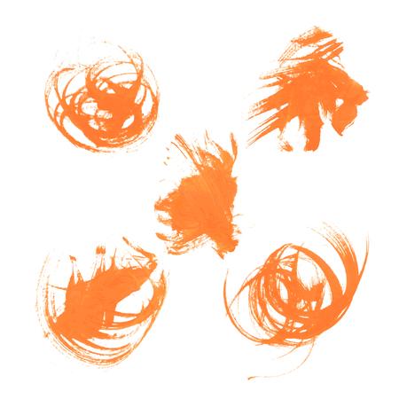smears: Set texture orange paint smears on white background 35