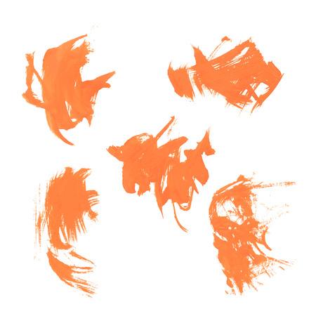 smears: Set texture orange paint smears on white background 37