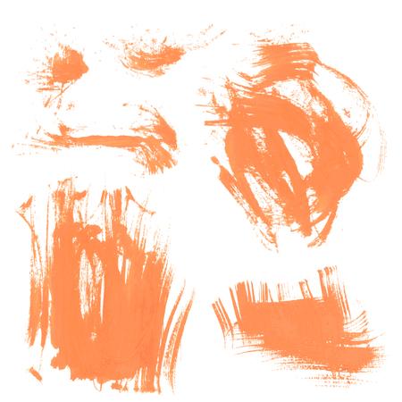 smears: Set texture orange paint smears on white background 4