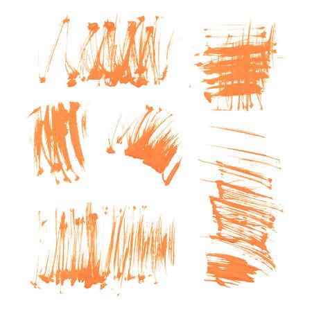 smears: Set texture orange paint smears on white background 40 Illustration