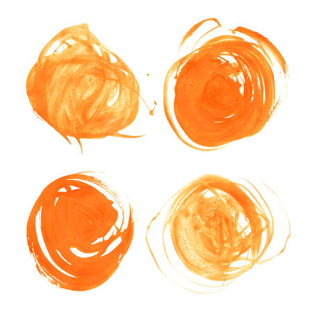 Realistic orange vector circles drawn thick paints  Vector