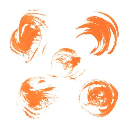 Realistic orange vector circles drawn thick paints  Vector