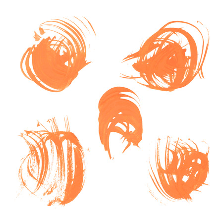 Realistic orange vector circles drawn thick paints  Stock Vector - 25189960