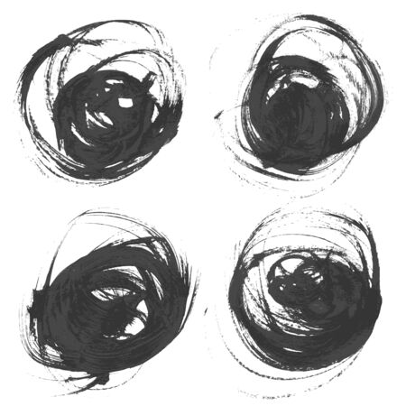 Realistic vector circles drawn thick paints  Vector