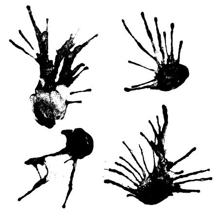 inkblot: set of vector black blotches on paper
