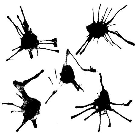 set of vector black blotches on paper