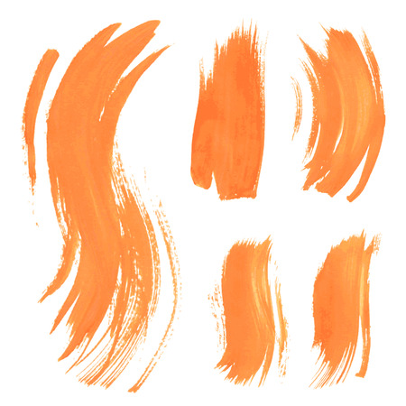dry brush: Set texture orange paint smears on white background