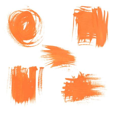smears: Set texture orange paint smears on white background