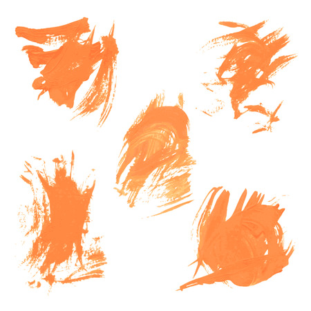 smears: Set texture orange paint smears on white background Illustration