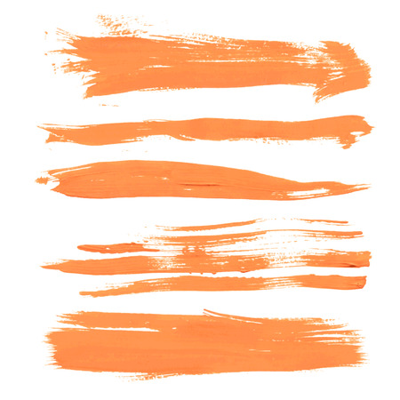 watercolor smear: Set texture orange paint smears on white background