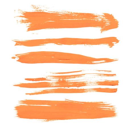 Stel textuur oranje verf vlekken op witte achtergrond