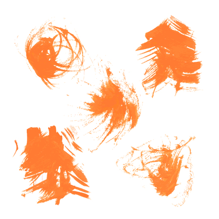34: Set texture orange paint smears on white background 34