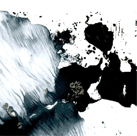 monotype: Abstract wet black and white vector monotype Illustration