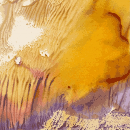 gouache: Abstract yellow and violet paint imprint colors