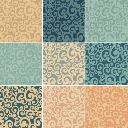 twiddle: Set of abstract seamless backgrounds with curls in retro colors 1 Illustration