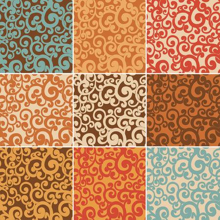 twirled: Set di sfondi senza soluzione di continuit� astratto con riccioli in colori retr�