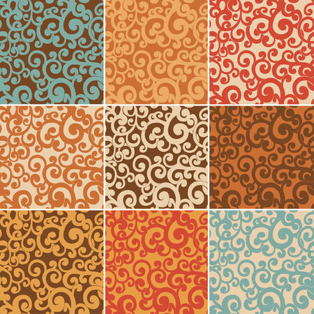 twiddle: Set of abstract seamless backgrounds with curls in retro colors Illustration