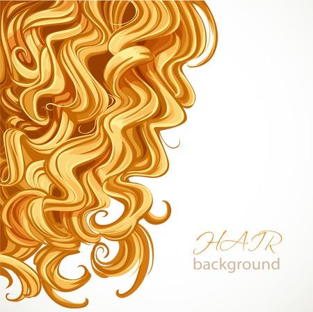 금발 곱슬 머리와 배경