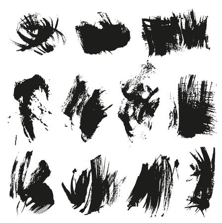 smears: Big set black texture paint smears on white background