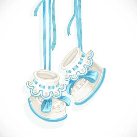 Baby blue booties isolated on a white background