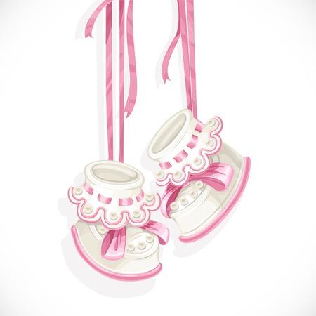 Botines rosados ??del bebé aislados sobre un fondo blanco