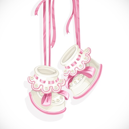 b�b� filles: Chaussons b�b� rose isol� sur un fond blanc