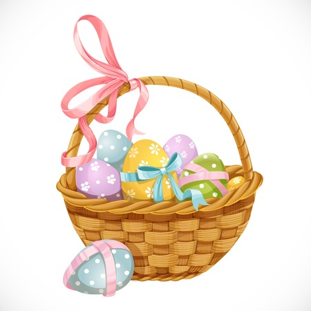 basket weaving: Basket with Easter eggs isolated on a white background Illustration