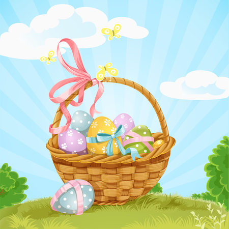 easter basket: Basket with Easter eggs on the lawn