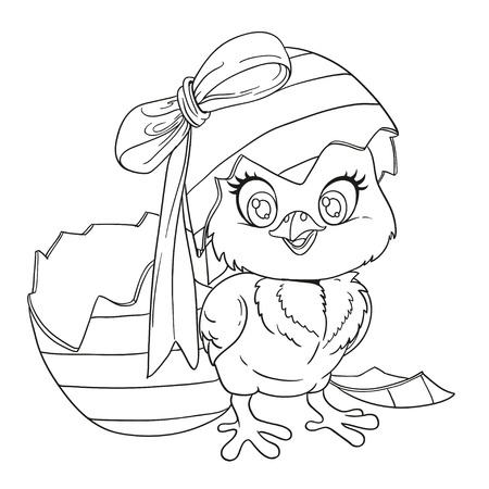 Outlined cute baby chick just hatched from an Easter egg Vector