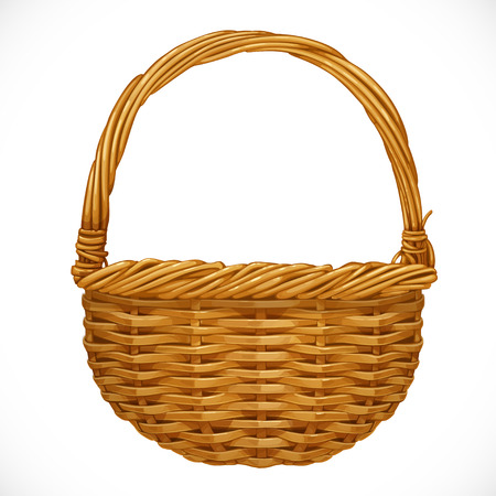 a straw: Realistic wicker basket isolated on white background  Vector illustration