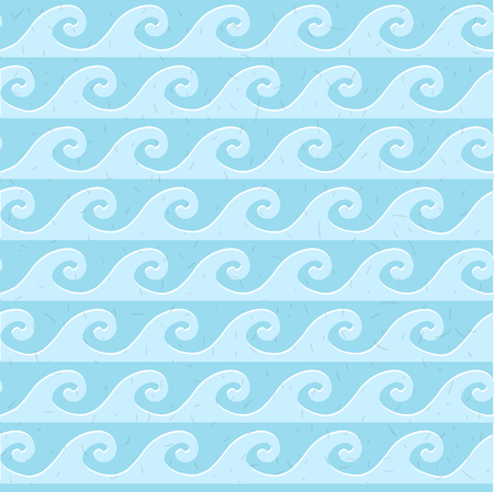 grunge pattern: Seamless blue grunge pattern sea waves in vintage style